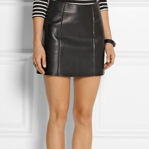 Alexander Wang Raw Edge A-line Leather Skirt